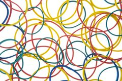 Studio Shot Of Multi Colored Rubber Bands Stock Images