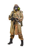 Studio shot of nuclear survivor. Nuclear post apocalypse. Studio shot of survivor in tatters Stock Photography