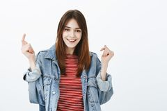 Free Studio Shot Of Upbeat Good-looking Girl With Brown Hair, Raising Hands And Smiling Broadly After Successful Interview Royalty Free Stock Photos - 119170878