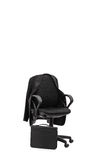 Studio shot of an office chair with a coat hanging on it Stock Photos