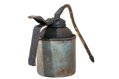 Studio Shot of Old Grimy Blue Oil Can 2 Royalty Free Stock Image