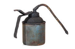 Studio Shot of Old Grimy Blue Oil Can 1 Royalty Free Stock Images