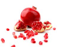 Studio shot open pomegranate isolated white background Stock Photos