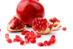 Studio shot open pomegranate isolated white background Stock Photography