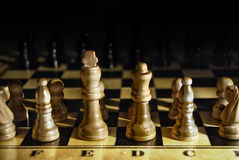 Battle concept. Studio shot of opening chess position from white player view. War, battle, strategy, challenge concepts Stock Photos