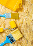 Paint tools on plywood Stock Image