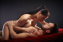 Studio shot of passionate couple having sex Royalty Free Stock Photo