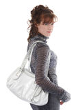 Studio shot of posing woman with bag royalty free stock images