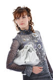 Studio shot of posing woman with bag Stock Photography