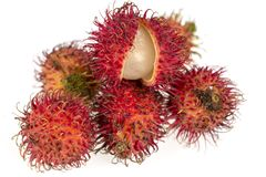 Studio shot of rambutan fruit. Rambutan fruit on a white background Royalty Free Stock Photography