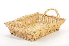 Studio shot rectangular wicker woven basket on White Royalty Free Stock Image