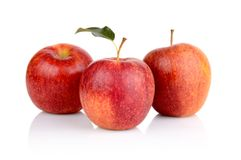 Studio shot of red apples with leaf Royalty Free Stock Photography