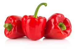 Studio shot of red bell peppers isolated on white Stock Images