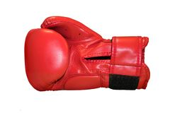 A studio shot of a red boxing glove isolated. On white background Stock Photo