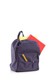 Studio shot of a school backpack with books Royalty Free Stock Photography