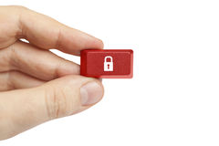 Hand holding security computer key. Studio shot of security key in hand on white background Stock Photography