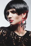 Fashion Woman in Black Guipure Dress. Professional Makeup Royalty Free Stock Images