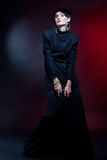 Sexy Fashion Woman in Black Guipure Dress. Professional Makeup Royalty Free Stock Photos