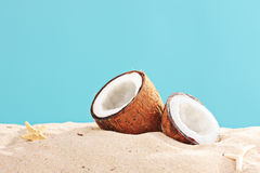 Studio shot of a sliced coconut on a sandy surface Royalty Free Stock Photos