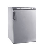 Studio shot small stainless steel refrigerator isolated on white Royalty Free Stock Photos
