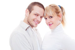 Studio shot of smiley man and woman Stock Images