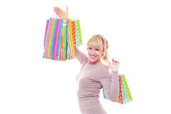 Studio shot of smiley woman after shopping Stock Image