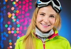 Studio shot of snowboard woman Stock Photos