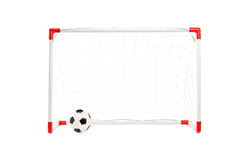 Studio shot of a soccer goal and ball Royalty Free Stock Photography