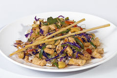 Studio Shot of Stir Fried Chicken Chop Suey and Chopsticks Royalty Free Stock Photography