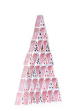 Studio shot of a tall house of cards Royalty Free Stock Image