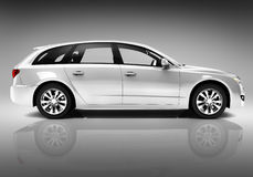 Studio Shot Of Three-Dimensional White Sedan Royalty Free Stock Photography