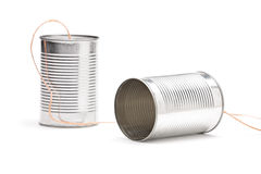Studio shot of a tin can phone Royalty Free Stock Photo
