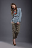 Studio Shot of Trendy Fashion Model in Pants and Blouse Royalty Free Stock Photo