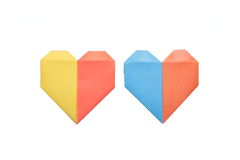 Studio shot of two colors origami heart Stock Image