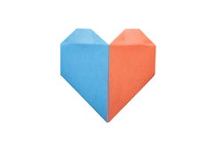 Studio shot of two colors origami heart Royalty Free Stock Image