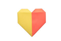 Studio shot of two colors origami heart Royalty Free Stock Photography