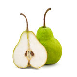 Studio shot of two fresh green natural pears. Isolated on white Royalty Free Stock Photos