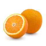 Studio shot of two fresh oranges isolated on white Royalty Free Stock Photo