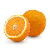 Studio shot of two fresh oranges isolated on white. Background Royalty Free Stock Photo