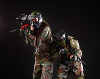 Studio shot of two paintball players Royalty Free Stock Photos