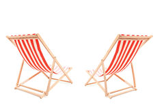 Studio shot of a two sun loungers. Isolated on white background stock photo