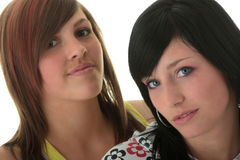 Studio shot of two trendy teen girls Royalty Free Stock Photo