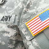 Studio shot of US flag shoulder patch on military uniform Royalty Free Stock Photo