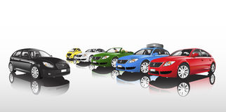 Studio Shot Vector Of Group Of Multi-Colored Cars In A Row Stock Image
