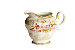 Studio Shot Vintage Porcelain Milk Jug on White Royalty Free Stock Photo