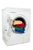 A studio shot of a washing machine Stock Photos