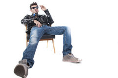 Studio shot on white background , male model smoking cigarette Royalty Free Stock Photography