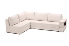 A studio shot of a white leather sofa Stock Images