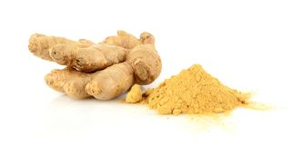 Studio shot of whole ginger with spice isolated on white. Close-up shot of whole ginger with spice isolated on white background Stock Photography