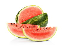 Studio shot whole and slice of watermelon isolated white Stock Photo